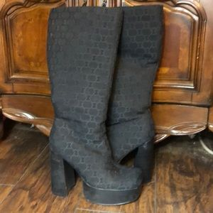 "Shoes - 2""platform 4'chunky below the knee black boots"